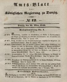 Amts-Blatt der Königlichen Regierung zu Danzig, 25. März 1846, Nr. 12