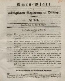 Amts-Blatt der Königlichen Regierung zu Danzig, 1. April 1846, Nr. 13