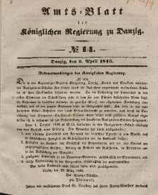Amts-Blatt der Königlichen Regierung zu Danzig, 8. April 1846, Nr. 14