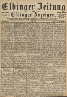 Elbinger Zeitung und Elbinger Anzeigen, Nr. 239 Mittwoch 13. Oktober 1886