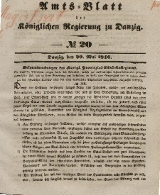 Amts-Blatt der Königlichen Regierung zu Danzig, 20. Mai 1846, Nr. 20