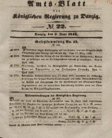 Amts-Blatt der Königlichen Regierung zu Danzig, 3. Juni 1846, Nr. 22