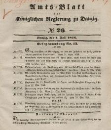 Amts-Blatt der Königlichen Regierung zu Danzig, 1. Juli 1846, Nr. 26