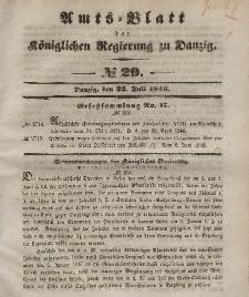 Amts-Blatt der Königlichen Regierung zu Danzig, 22. Juli 1846, Nr. 29