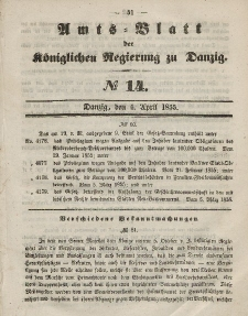 Amts-Blatt der Königlichen Regierung zu Danzig, 4. April 1855, Nr. 14