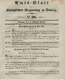 Amts-Blatt der Königlichen Regierung zu Danzig, 5. August 1846, Nr. 31