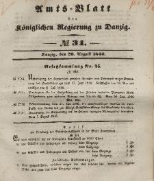 Amts-Blatt der Königlichen Regierung zu Danzig, 26. August 1846, Nr. 34