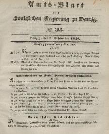 Amts-Blatt der Königlichen Regierung zu Danzig, 2. September 1846, Nr. 35