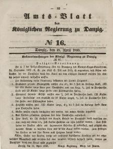 Amts-Blatt der Königlichen Regierung zu Danzig, 18. April 1855, Nr. 16