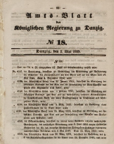 Amts-Blatt der Königlichen Regierung zu Danzig, 2. Mai 1855, Nr. 18