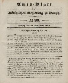 Amts-Blatt der Königlichen Regierung zu Danzig, 16. September 1846, Nr. 37