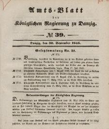 Amts-Blatt der Königlichen Regierung zu Danzig, 30. September 1846, Nr. 39