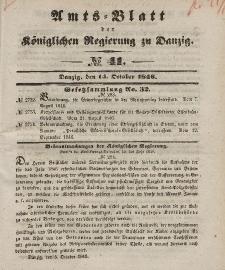 Amts-Blatt der Königlichen Regierung zu Danzig, 14. Oktober 1846, Nr. 41