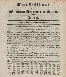 Amts-Blatt der Königlichen Regierung zu Danzig, 4. November 1846, Nr. 44