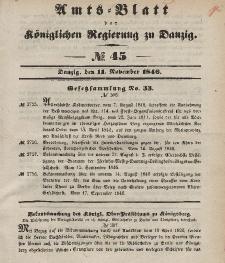 Amts-Blatt der Königlichen Regierung zu Danzig, 11. November 1846, Nr. 45