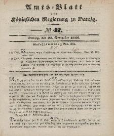 Amts-Blatt der Königlichen Regierung zu Danzig, 25. November 1846, Nr. 47