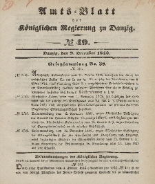 Amts-Blatt der Königlichen Regierung zu Danzig, 9. Dezember 1846, Nr. 49