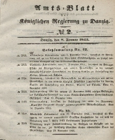 Amts-Blatt der Königlichen Regierung zu Danzig, 8. Januar 1845, Nr. 2