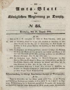 Amts-Blatt der Königlichen Regierung zu Danzig, 29. August 1855, Nr. 35