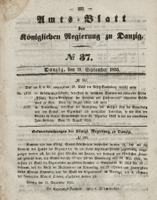 Amts-Blatt der Königlichen Regierung zu Danzig, 12. September 1855, Nr. 37