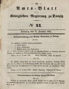 Amts-Blatt der Königlichen Regierung zu Danzig, 31. Oktober 1855, Nr. 44