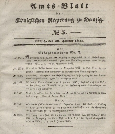 Amts-Blatt der Königlichen Regierung zu Danzig, 29. Januar 1845, Nr. 5