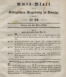 Amts-Blatt der Königlichen Regierung zu Danzig, 12. März 1845, Nr. 11