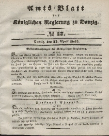 Amts-Blatt der Königlichen Regierung zu Danzig, 23. April 1845, Nr. 17