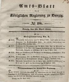 Amts-Blatt der Königlichen Regierung zu Danzig, 30. April 1845, Nr. 18