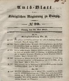 Amts-Blatt der Königlichen Regierung zu Danzig, 14. Mai 1845, Nr. 20