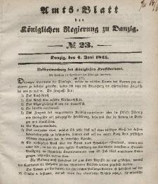 Amts-Blatt der Königlichen Regierung zu Danzig, 4. Juni 1845, Nr. 23