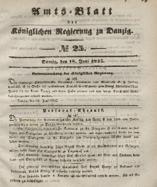 Amts-Blatt der Königlichen Regierung zu Danzig, 18. Juni 1845, Nr. 25