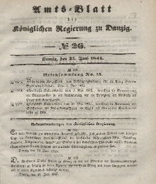 Amts-Blatt der Königlichen Regierung zu Danzig, 25. Juni 1845, Nr. 26