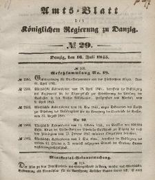 Amts-Blatt der Königlichen Regierung zu Danzig, 16. Juli 1845, Nr. 29