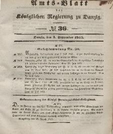 Amts-Blatt der Königlichen Regierung zu Danzig, 3. September 1845, Nr. 36