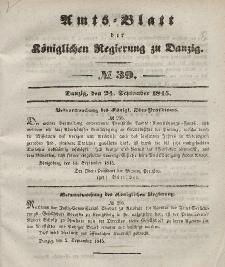 Amts-Blatt der Königlichen Regierung zu Danzig, 24. September 1845, Nr. 39