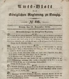 Amts-Blatt der Königlichen Regierung zu Danzig, 12. November 1845, Nr. 46