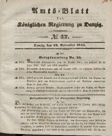Amts-Blatt der Königlichen Regierung zu Danzig, 19. November 1845, Nr. 47