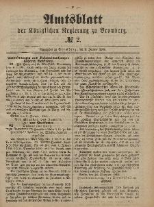 Amtsblatt der Königlichen Preußischen Regierung zu Bromberg, 8. Januar 1886, Nr. 2