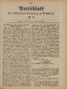 Amtsblatt der Königlichen Preußischen Regierung zu Bromberg, 9. April 1886, Nr. 15