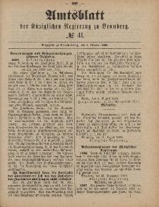 Amtsblatt der Königlichen Preußischen Regierung zu Bromberg, 8. Oktober 1886, Nr. 41