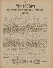 Amtsblatt der Königlichen Preußischen Regierung zu Bromberg, 22. Oktober 1886, Nr. 43
