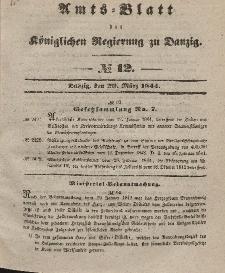 Amts-Blatt der Königlichen Regierung zu Danzig, 20. März 1844, Nr. 12