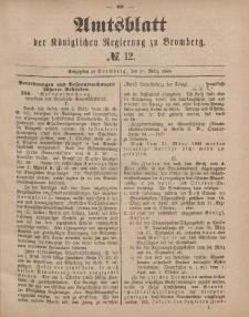 Amtsblatt der Königlichen Preußischen Regierung zu Bromberg, 20. März 1885, Nr. 12