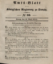 Amts-Blatt der Königlichen Regierung zu Danzig, 17. April 1844, Nr. 16