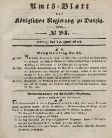 Amts-Blatt der Königlichen Regierung zu Danzig, 12. Juni 1844, Nr. 24