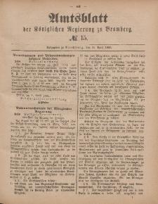 Amtsblatt der Königlichen Preußischen Regierung zu Bromberg, 10. April 1885, Nr. 15