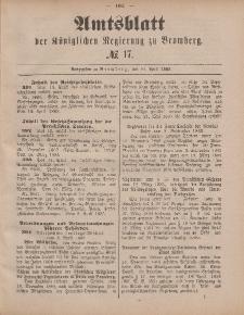 Amtsblatt der Königlichen Preußischen Regierung zu Bromberg, 24. April 1885, Nr. 17