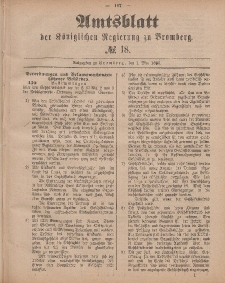 Amtsblatt der Königlichen Preußischen Regierung zu Bromberg, 1. Mai 1885, Nr. 18
