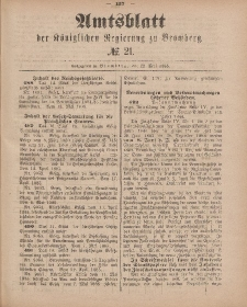 Amtsblatt der Königlichen Preußischen Regierung zu Bromberg, 22. Mai 1885, Nr. 21